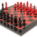 German Knight Staunton Chess Set in High Gloss Black & Red with Black & Red Chess Board – 2.75″ King