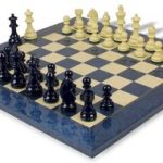 German Knight Staunton Chess Set in High Gloss Blue & Ivory with Blue & Erable Chess Board – 3.25″ King