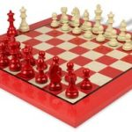 German Knight Staunton Chess Set in High Gloss Red & Ivory with Red & Erable Chess Board – 3.25″ King