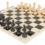 Deluxe Club Plastic Chess Set & Board with Black & Camel Pieces – Black