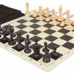 Deluxe Club Easy Carry Chess Set Package Black & Camel Pieces – Black