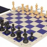 Deluxe Club Classroom Chess Set Package Black & Camel Pieces – Blue