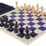 Deluxe Club Easy Carry Chess Set Package Black & Camel Pieces – Blue