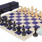 Deluxe Club Carry-All Chess Set Package Black & Camel Pieces – Blue