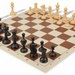 Deluxe Club Plastic Chess Set & Board with Black & Camel Pieces – Brown