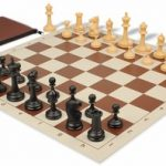 Deluxe Club Classroom Chess Set Package Black & Camel Pieces – Brown