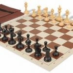 Deluxe Club Easy Carry Chess Set Package Black & Camel Pieces – Brown