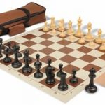 Deluxe Club Carry-All Chess Set Package Black & Camel Pieces – Brown