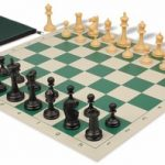 Deluxe Club Classroom Chess Set Package Black & Camel Pieces – Green