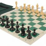 Deluxe Club Easy Carry Chess Set Package Black & Camel Pieces – Green
