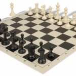 Deluxe Club Plastic Chess Set & Board with Black & Ivory Pieces – Black