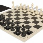 Deluxe Club Classroom Chess Set Package Black & Ivory Pieces – Black