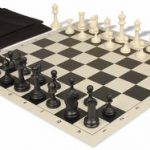 Deluxe Club Easy Carry Chess Set Package Black & Ivory Pieces – Black