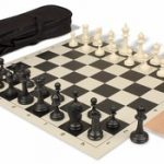 Deluxe Club Carry-All Chess Set Package Black & Ivory Pieces – Black
