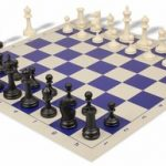 Deluxe Club Plastic Chess Set & Board with Black & Ivory Pieces – Blue