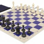 Deluxe Club Classroom Chess Set Package Black & Ivory Pieces – Blue