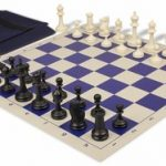 Deluxe Club Easy Carry Chess Set Package Black & Ivory Pieces – Blue