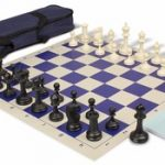 Deluxe Club Carry-All Chess Set Package Black & Ivory Pieces – Blue