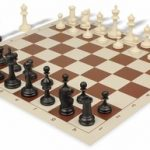Deluxe Club Plastic Chess Set & Board with Black & Ivory Pieces – Brown