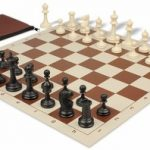 Deluxe Club Classroom Chess Set Package Black & Ivory Pieces – Brown