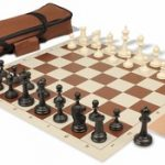 Deluxe Club Carry-All Chess Set Package Black & Ivory Pieces – Brown