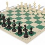 Deluxe Club Plastic Chess Set & Board with Black & Ivory Pieces – Green