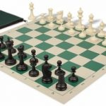 Deluxe Club Classroom Chess Set Package Black & Ivory Pieces – Green