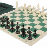 Deluxe Club Easy Carry Chess Set Package Black & Ivory Pieces – Green