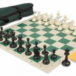 Deluxe Club Carry-All Chess Set Package Black & Ivory Pieces – Green