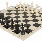 Master Series Plastic Chess Set & Board with Black & Ivory Pieces – Black