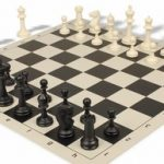 Master Series Plastic Chess Set & Board with Black & Ivory Pieces – Brown