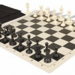 Master Series Easy Carry Chess Set Package Black & Ivory Pieces – Black