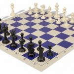 Master Series Plastic Chess Set & Board with Black & Ivory Pieces – Blue