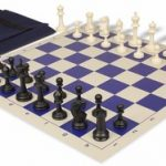 Master Series Easy Carry Chess Set Package Black & Ivory Pieces – Blue