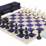 Master Series Carry-All Chess Set Package Black & Ivory Pieces – Blue