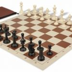 Master Series Classroom Chess Set Package Black & Ivory Pieces – Brown