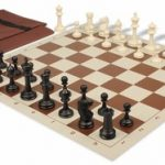 Master Series Easy Carry Chess Set Package Black & Ivory Pieces – Brown