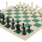 Master Series Plastic Chess Set & Board with Black & Ivory Pieces – Green