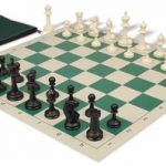 Master Series Classroom Chess Set Package Black & Ivory Pieces – Green
