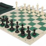Master Series Easy Carry Chess Set Package Black & Ivory Pieces – Green