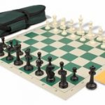 Master Series Carry-All Chess Set Package Black & Ivory Pieces – Green