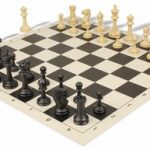 Master Series Plastic Chess Set & Board with Black & Tan Pieces – Black