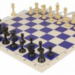 Master Series Plastic Chess Set & Board with Black & Tan Pieces – Blue