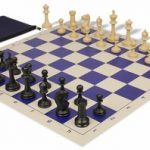 Master Series Classroom Chess Set Package Black & Tan Pieces – Blue
