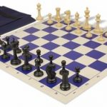 Master Series Easy Carry Chess Set Package Black & Tan Pieces – Blue