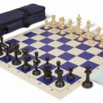 Master Series Carry-All Chess Set Package Black & Tan Pieces – Blue
