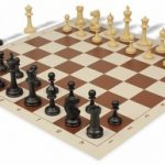 Master Series Plastic Chess Set & Board with Black & Tan Pieces – Brown