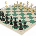 Master Series Plastic Chess Set & Board with Black & Tan Pieces – Green