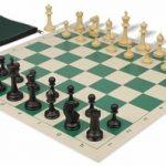 Master Series Classroom Chess Set Package Black & Tan Pieces – Green