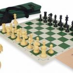 ProTourney Tournament Chess Kit in Black & Camel – Green